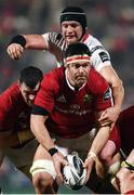 28 October 2016; Billy Holland with the support of his Munster team-mate Peter O'Mahony is tackled by Dan Tuohy of Ulster during the Guinness PRO12 Round 7 match between Ulster and Munster at Kingspan Stadium, Ravenhill Park in Belfast. Photo by Stephen McCarthy/Sportsfile