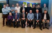 2 November 2016; The hurling selection committee for the 2016 GAA GPA All-Star Awards Sponsored by Opel, back row, from left, Philip Lanigan, Mail on Sunday, Denis Walsh, Sunday Times, Damian Lawlor, Sky Sports, Vincent Hogan, Irish Independent, Martin Breheny, Irish Independent, Karl O'Kane, Irish Daily Star, John Harrington, GAA.ie, Gordon Manning, Irish Sun, MacDara Mac Donncha, TG4. Front row, from left, Enda McEvoy, Irish Examiner, Brian Carthy, RTÉ Radio Sport, Uachtarán Chumann Lúthchleas Aogán Ó Fearghail, Seán Bán Breathnach, RTÉ Raidió na Gaeltachta, Michael Lyster, RTÉ TV Sport, and Seán Moran, Irish Times. All-Star Suite, Croke Park in Dublin. Photo by Piaras Ó Mídheach/Sportsfile