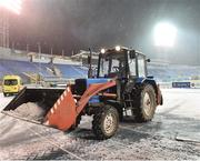 3 November 2016; Snow is cleared by ground staff  before the start of the UEFA Europa League Group D Matchday 4 match between Zenit St Petersburg v Dundalk at Stadion Pertrovskiy in St Petersburg, Russia. Photo by David Maher/Sportsfile