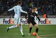 3 November 2016; David McMillan of Dundalk in action against Nicolas Lombaerts of Zenit St Petersburg during the UEFA Europa League Group D Matchday 4 match between Zenit St Petersburg v Dundalk at Stadion Pertrovskiy in St Petersburg, Russia. Photo by David Maher/Sportsfile