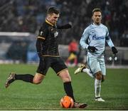 3 November 2016; Patrick McEleney of Dundalk strikes a which subsequently hits the post during the UEFA Europa League Group D Matchday 4 match between Zenit St Petersburg v Dundalk at Stadion Pertrovskiy in St Petersburg, Russia. Photo by David Maher/Sportsfile