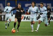 3 November 2016; David McMillan of Dundalk in action against Axel Witsel and Domenico Criscito of Zenit St Petersburg  during the UEFA Europa League Group D Matchday 4 match between Zenit St Petersburg and Dundalk at Stadion Pertrovskiy in St Petersburg, Russia. Photo by David Maher/Sportsfile