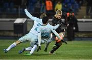 3 November 2016; Daryl Horgan of Dundalk in action against Aleksandr Anyukov and Luís Neto of Zenit St Petersburg during the UEFA Europa League Group D Matchday 4 match between Zenit St Petersburg and Dundalk at Stadion Pertrovskiy in St Petersburg, Russia. Photo by David Maher/Sportsfile