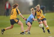 20 March 2011; Sinead McCoy, UUJ, in action against Ellen McCarron, right, and Shannon Quinn, DCU. O'Connor Cup Final 2011, Dublin City University v University of Ulster Jordanstown, University of Limerick, Limerick. Picture credit: Stephen McCarthy / SPORTSFILE