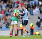 20 March 2011; Tomás Quinn, Dublin, and Keith Higgins, Mayo, shake hands after the game. Allianz Football League Division 1 Round 5, Dublin v Mayo, Croke Park, Dublin. Picture credit: Ray McManus / SPORTSFILE