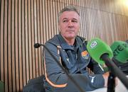 25 March 2011; Macedonia head coach Mirsad Jonuz during a press conference ahead of their EURO2012 Championship Qualifier match against the Republic of Ireland on Saturday. Aviva Stadium, Lansdowne Road, Dublin. Picture credit: David Maher / SPORTSFILE