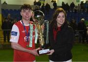 3 November 2016; St Patrick's Athletic captain Paul Cleary is presented with the trophy by Anne Sweeney, from SSE Airtricity, after the SSE Airtricity Under 17 League Final match between UCD and St Patrick's Athletic at the UCD Bowl in Belfield, Dublin. Photo by Matt Browne/Sportsfile