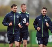 8 November 2016; Andy Boyle, left, Adam Rooney, centre, and Robbie Brady of Republic of Ireland during squad training at the FAI National Training Centre in the National Sports Campus, Abbotstown, Dublin. Photo by David Maher/Sportsfile