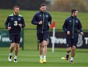 8 November 2016; Andy Boyle, centre, with Adam Rooney, left, and Robbie Brady of Republic of Ireland during squad training at the FAI National Training Centre in the National Sports Campus, Abbotstown, Dublin. Photo by David Maher/Sportsfile