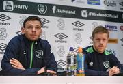 8 November 2016; Andy Boyle, left, and Daryl Horgan of Republic of Ireland during a press conference at the FAI National Training Centre in the National Sports Campus, Abbotstown, Dublin. Photo by David Maher/Sportsfile