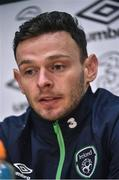 8 November 2016; Andy Boyle of Republic of Ireland during a press conference at the FAI National Training Centre in the National Sports Campus, Abbotstown, Dublin. Photo by David Maher/Sportsfile