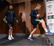 8 November 2016; Daryl Horgan and Andy Boyle of Republic of Ireland arriving for a press conference at the FAI National Training Centre in the National Sports Campus, Abbotstown, Dublin. Photo by David Maher/Sportsfile