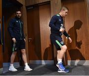 8 November 2016; Daryl Horgan, right, and Andy Boyle of Republic of Ireland arriving for a press conference at the FAI National Training Centre in the National Sports Campus, Abbotstown, Dublin. Photo by David Maher/Sportsfile