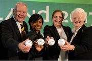 9 November 2016; World Rugby Chairman Bill Beaumont, from left, England's WRWC 2014 winner Maggie Alphonsi, former Ireland captain and WRWC 2017 Ambassador Fiona Coghlan, and Olympic gold medalist Dame Mary Peters during the 2017 Women's Rugby World Cup Pool Draw at City Hall in Belfast. Photo by Oliver McVeigh/Sportsfile