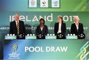 9 November 2016; World Rugby Chairman Bill Beaumont, England's WRWC 2014 winner Maggie Alphonsi, former Ireland captain and WRWC 2017 Ambassador Fiona Coghlan, and Olympic gold medallist Dame Mary Peters during the 2017 Women's Rugby World Cup Pool Draw at City Hall in Belfast. Photo by Oliver McVeigh/Sportsfile