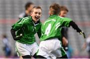 9 November 2016; Daniel Gilmartin, left, and Harry Phillips of Our Lady Queen of the Apostles NS, Clonburris celebrate their side's victory over Terenure College JS during the Corn Chlanna Gael final at the Allianz Cumann na mBunscol Finals in Croke Park, Dublin. Photo by Stephen McCarthy/Sportsfile