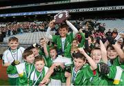 9 November 2016; Jack Kelly and his Our Lady Queen of the Apostles NS, Clonburris, team-mates celebrate their victory over Terenure College JS during the Corn Chlanna Gael final at the Allianz Cumann na mBunscol Finals in Croke Park, Dublin. Photo by Stephen McCarthy/Sportsfile