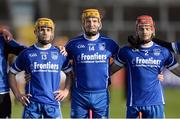6 November 2016; Thurles Sarsfields players, from left, Conor Lanigan, Lar Corbett and Stephen Maher stand for the National Anthem prior to the AIB Munster GAA Hurling Senior Club Championship semi-final game between Ballyea and Thurles Sarsfields at Cusack Park in Ennis, Co Clare. Photo by Piaras Ó Mídheach/Sportsfile