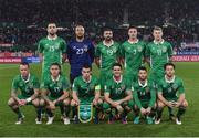 12 November 2016; The Republic of Ireland team, back row, from left to right, Shane Duffy, Darren Randolph, Jonathan Walters, Ciaran Clark and James McClean. Front row, from left to right, Glen Whelan, Jeff Hendrick, Seamus Coleman, Robbie Brady, Wes Hoolahan and Harrry Arter, prior to the FIFA World Cup Group D Qualifier match between Austria and Republic of Ireland at the Ernst Happel Stadium in Vienna, Austria. Photo by David Maher/Sportsfile