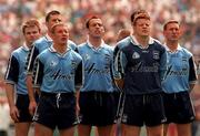 21 June 1998; Dublin players stand for the National Anthem, Amhrán na bhFiann, during the Bank of Ireland Leinster Senior Football Championship Quarter-Final Replay match between Kildare and Dublin at Croke Park in Dublin. Photo by David Maher/Sportsfile