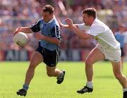 21 June 1998; Paul Curran of Dublin in action against John Finn of Kildare during the Bank of Ireland Leinster Senior Football Championship Quarter-Final Replay match between Kildare and Dublin at Croke Park in Dublin. Photo by David Maher/Sportsfile