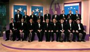 30 November 2001; Pictured are the Eircell Vodafone Hurling All Stars, ( Front Row left to right) Darragh Ryan, Philip Maher, Ollie Canning, Sean McCague, President, Cumann Luthchleas Gael, An Taoiseach Bertie Ahern TD, Paul Donovan, Chief Executive, Eircell Vodafone, Eamonn Corcoran, Liam Hodgins and Mark Foley. ( Back Row, left to right) Brendan Cummins, James O'Connor, Kevin Broderick, Charlie Carter, Eugene Cloonan, Eoin Kelly, Mark O'Leary, Eddie Enright and Thomas Dunne, at the Eircell Vodafone AllStar Awards at the CityWest Hotel, Dublin. Hurling. Picture credit; Brendan Moran / SPORTSFILE *EDI*