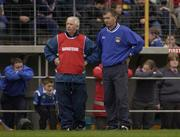 11 November 2001; Thurles manager Paddy Doyle, left, and trainer Paddy McCormack look on from the sideline. Toomevara v Thurles Sarsfields, Tipperary County Club Hurling Final, Semple Stadium, Thurles, Co. Tipperary. Picture credit; Brendan Moran / SPORTSFILE *EDI*