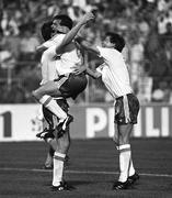 21 June 1990; Niall Quinn of Republic of Ireland celebrates after scoring his side's first goal with team-mates Ray Houghton, centre, and Ronnie Whelan, right, during the FIFA World Cup 1990 Group F match between Republic of Ireland and Netherlands at Stadio La Favorita in Palermo, Italy. Photo by Ray McManus/Sportsfile