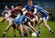 13 November 2016; Paddy Dowdall of St Lomans in action against Rian Brady, left, and Aidan Mc Elligot of St Columbas during the AIB Leinster GAA Football Senior Club Championship quarter-final game between St Columbas and St Lomans at Glennon Brothers Parse Park in Longford. Photo by Sam Barnes/Sportsfile