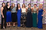 12 November 2016; In attendance at the TG4 Ladies Football All Stars awards in Citywest Hotel in Dublin are, Dublin players, from left, Leah Caffrey, Olwen Carey, Sinéad Finnegan, Sinéad Goldrick, Noelle Healy, Lyndsey Davey, Sinéad Aherne and Carla Rowe. Photo by Cody Glenn/Sportsfile