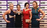 12 November 2016; In attendance at the TG4 Ladies Football All Stars awards in Citywest Hotel in Dublin are, from left, Leona Archibold of Westmeath, Sarah Houlihan of Kerry, Aisling Doonan of Cavan and Stephanie O'Reilly of Sligo.  Photo by Cody Glenn/Sportsfile