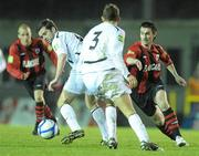 2 April 2011; Keith Gillespie, Longford Town, in action against Tommy Barrett, left and Jamie Carr, Athlone Town. Airtricity League First Division, Longford Town v Athlone Town, Flancare Park, Longford. Picture credit: Paul Mohan / SPORTSFILE