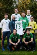 14 November 2016; Irish international star Jeff Hendrick presenting his international jersey and kit which he wore in the European Championship clash with France to Stuart Hayden manager of the Irish Deaf International soccer team at The Deaf Village in Cabra, Dublin. Jeff is the ambassador for DeafHear which, is the national association for Deaf and Hard of Hearing in Ireland. In attendance during the Jeff Hendrick Presentation to Deaf International Soccer Team are from left, back row, Ciaran Lowney and Adrian McCluskey, middle row, Jason Maguire, Stuart Hayden, Jeff Hendrick and Daniel Landers, front row, Eamon Byrne and Sean Young. Photo by Sam Barnes/Sportsfile