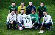 14 November 2016; Irish international star Jeff Hendrick presenting his international jersey and kit which he wore in the European Championship clash with France to Jason Maguire of the Irish Deaf International soccer team at The Deaf Village in Cabra, Dublin. Jeff is the ambassador for DeafHear which, is the national association for Deaf and Hard of Hearing in Ireland. In attendance during the Jeff Hendrick Presentation to Deaf International Soccer Team are from left, back row, Sean Young, Daniel Landers, Deaf International soccer team manager Stuart Hayden, Eamon Byrne, Ciaran Lowney, Jason Maguire, Jeff Hendrick and Adrian McCluskey. Photo by Sam Barnes/Sportsfile