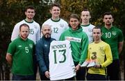 14 November 2016; Irish international star Jeff Hendrick presenting his international jersey and kit which he wore in the European Championship clash with France to Stuart Hayden manager of the Irish Deaf International soccer team at The Deaf Village in Cabra, Dublin. Jeff is the ambassador for DeafHear which, is the national association for Deaf and Hard of Hearing in Ireland. In attendance during the Jeff Hendrick Presentation to Deaf International Soccer Team are from left, Eamon Byrne, Jason Maguire, Stuart Hayden, Ciaran Lowney, Jeff Hendrick, Adrian McCluskey, Daniel Landers and Sean Young. Photo by Sam Barnes/Sportsfile