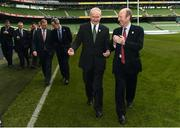 15 November 2016; In attendance at the official launch of Ireland's bid for the 2023 Rugby World Cup at the Aviva Stadium in Lansdowne Road, Dublin are, deputy First Minister of Northern Ireland Martin McGuinness, left, and Shane Ross, Minister for Transport, Tourism and Sport. Photo by Ramsey Cardy/Sportsfile