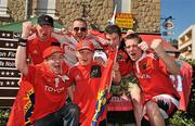 9 April 2011; Munster supporters, back row, from left to right, TJ Bluett, from Effin, Co. Limerick, Jason Fitzgibbon, from Carrigtouhill, Cork, Tadhg O'Donoghue, from Glen of Aherlow, Co. Tipperary, Shane Howard, Ballyhooley, Co. Cork, front row, from left to right, Shane Doyle, from Clareview, left, and Tommy Bluett, aged 11, from Effin, Co. Limerick, ahead of the game. Amlin Challenge Cup Quarter-Final, Brive v Munster, Stadium Municipal Amédée Domenech, Brive, France. Picture credit: Diarmuid Greene / SPORTSFILE