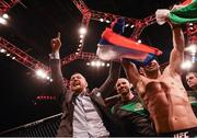 19 November 2016; UFC Lightweight and Featherweight champion Conor McGregor celebrates with fellow SBG gym fighter Artem Lobov after his victory over Teruto Ishihara in their Featherweight bout at UFC Fight Night 99 in the SSE Arena, Belfast. Photo by David Fitzgerald/Sportsfile