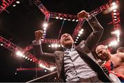 19 November 2016; UFC Lightweight and Featherweight champion Conor McGregor celebrates fellow SBG gym fighter Artem Lobov's victory over Teruto Ishihara in their Featherweight bout at UFC Fight Night 99 in the SSE Arena, Belfast. Photo by David Fitzgerald/Sportsfile