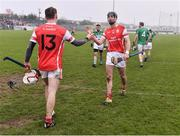 20 November 2016; Con O'Callaghan, left, and Mark Schutte of Cuala celebrate at the end of the AIB Leinster GAA Hurling Senior Club Championship semi-final match between St. Mullins and Cuala at Netwatch Cullen Park in Carlow. Photo by David Maher/Sportsfile
