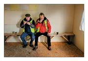 "14 February 2016; Dining at the top table. Clare stewards Michael Daffy from Clooney, left, and Michael O'Brien from Quin find nourishment in the temporary canteen in Cusack Park  Picture credit: Ray McManus / SPORTSFILE  This image may be reproduced free of charge when used in conjunction with a review of the book ""A Season of Sundays 2016"". All other usage © SPORTSFILE"
