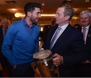 21 November 2016; Pictured at the launch of the 2016 A Season of Sundays in The Croke Park in Dublin are Dublin footballer Bernard Brogan, left, and An Taoiseach Enda Kenny T.D.. Now in its twentieth year of publication, A Season of Sundays again embraces the very heart and soul of Ireland's national games as captured by the award winning team of photographers at the Sportsfile photographic agency. With text by Alan Milton, it is a treasured record of the 2016 GAA season to be savoured and enjoyed by players, spectators and enthusiasts everywhere. Photo by Eóin Noonan/Sportsfile