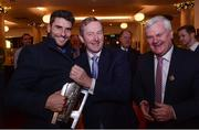 21 November 2016; Pictured at the launch of the 2016 A Season of Sundays in The Croke Park in Dublin are Dublin footballer Bernard Brogan, left, An Taoiseach Enda Kenny T.D., centre, and Uachtarán Chumann Lúthchleas Gael Aogán Ó Fearghail. Now in its twentieth year of publication, A Season of Sundays again embraces the very heart and soul of Ireland's national games as captured by the award winning team of photographers at the Sportsfile photographic agency. With text by Alan Milton, it is a treasured record of the 2016 GAA season to be savoured and enjoyed by players, spectators and enthusiasts everywhere. Photo by Eóin Noonan/Sportsfile