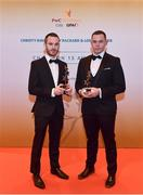 3 November 2017; Fermanagh hurlers Sean Corrigan, left, and Shea Curran, after collecting their Lory Meagher Champion 15 award during the PwC All Stars 2017 at the Convention Centre in Dublin. Photo by Sam Barnes/Sportsfile