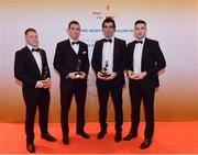 3 November 2017; Derry hurlers, from left, Paul Cleary, Darragh McCloskey, Sean Cassidy, and Gerald Bradley after collecting their Nickey Rackard Champion 15 award during the PwC All Stars 2017 at the Convention Centre in Dublin. Photo by Sam Barnes/Sportsfile