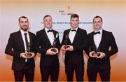 3 November 2017; Warwickshire hurlers, from left, John Collins, Dean Bruen, Paul Uniacke and Liam Watson, after collecting their Lory Meagher Champion 15 award during the PwC All Stars 2017 at the Convention Centre in Dublin. Photo by Sam Barnes/Sportsfile
