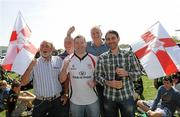 10 April 2011; Ulster supporters, from left to right, Victor Lee, Ballyclare, Paddy O'Grady, Belfast, Gareth Devine, Dungannon, Co. Tyrone, Roger Brodie, England, and Graham Lee, Belfast, at the game. Heineken Cup Quarter-Final, Northampton Saints v Ulster, stadium:mk, Milton Keynes, Buckinghamshire, England. Picture credit: Oliver McVeigh / SPORTSFILE