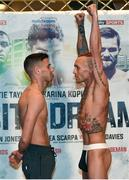 25 November 2016; Martin J. Ward, left, and Ronnie Clark square off during the official weigh-in at the Hilton London Wembley Hotel prior to the Big City Dreams boxing event at the Wembley Arena in London, England. Photo by Stephen McCarthy/Sportsfile
