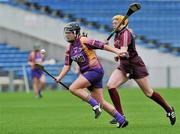 17 April 2011; Una Leacy, Wexford, in action against Sarah Dervan, Galway. Irish Daily Star Camogie League, Division 1, Final, Galway v Wexford, Semple Stadium, Thurles, Co. Tipperary. Picture credit: Brian Lawless / SPORTSFILE