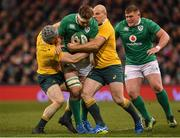 26 November 2016; Iain Henderson of Ireland is tackled by David Pocock, left, and Stephen Moore of Australia during the Autumn International match between Ireland and Australia at the Aviva Stadium in Dublin. Photo by Brendan Moran/Sportsfile